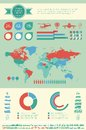 Transportation infographic template flat elements plus icon set Stock Images