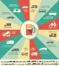 Transportation infographic template flat elements plus icon set Royalty Free Stock Images