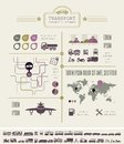 Transportation infographic template flat elements plus icon set Stock Photos