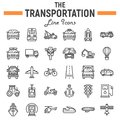 Transportation line icon set, transport symbols