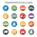 Transportation long shadow icons Royalty Free Stock Photo