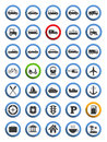 Transportation nautical and travel icons set of flat design Stock Image