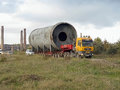 Transportation of oversized cargo - industrial rotary tube furna Royalty Free Stock Photo