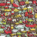 Transportation seamless pattern repeated with mini doodle drawings icons illustration is in eps vector mode Stock Photo