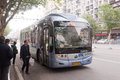 Transportation services in wuhan china april tram bus at city road Royalty Free Stock Photos