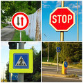Transportation sign in four set Royalty Free Stock Images