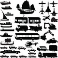Transportation silhouette vector Royalty Free Stock Images