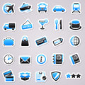 Transportation stickers blue icon concepts Stock Image