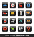Transportation tablet buttons collection on white Royalty Free Stock Photos