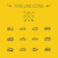 Transportation thin line icon set Royalty Free Stock Photo