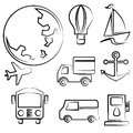 Transportation and travel drawing line set sketch line Stock Image