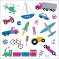 Transportation vehicles collection illustration truck car airplane boat train bicycle motorbike rocket and traffic signs on white Royalty Free Stock Photography