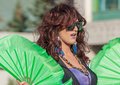 Transsexual with fans at capital pride ottawa canada august a waving on august in ottawa ontario Royalty Free Stock Image