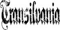 Transylvania sign illustration of the word in black gothic lettering with a white background Stock Image