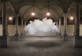 Trapped artistic surreal conceptual image that represent a cloud in an ancient and beautiful interior environment Royalty Free Stock Photography