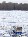 Trapped boat into the frozen Danube river