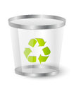 Trash basket with recycling symbol Royalty Free Stock Photography