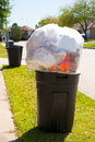Trash bin dustbin full of garbage on street lawn excess Stock Photography