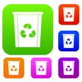 Trash bin with recycle symbol set color collection Royalty Free Stock Photo