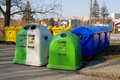 Trash bins and containers set of colorful plastic cans Stock Photos
