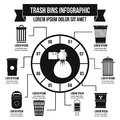 Trash bins infographic concept, simple style