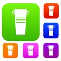 Trash can with handles set color collection Royalty Free Stock Photo