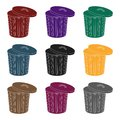 Trash can icon in black style isolated on white background. Trash and garbage symbol stock vector illustration. Royalty Free Stock Photo