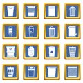 Trash can icons set blue