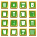 Trash can icons set green