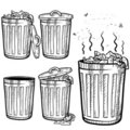 Trash can sketch Stock Image