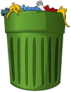 Trash can with trash inside a vector illustration of a big green Stock Photo