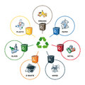 Trash Categories with Recycling Bins Royalty Free Stock Photo