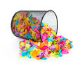 Trash with colored paper on white Royalty Free Stock Photo