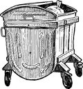 Trash container vector drawing of the city garbage Royalty Free Stock Photography