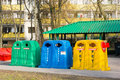 Trash containers poznan poland march row of by a apartment building Royalty Free Stock Photo