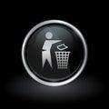 Trash disposal bin icon inside round silver and black emblem