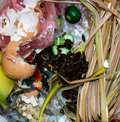 Trash food fruits and vegetables ingredients Stock Photo