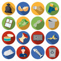 Trash and garbage set icons in flat style. Big collection of trash and garbage vector symbol stock illustration