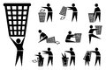 Trash man icons life of famous symbols icon set Royalty Free Stock Image