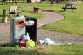 Trash or rubbish bin overflowing. Royalty Free Stock Photo