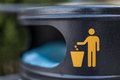 Trash a symbol on a city bin in a croatian city Stock Photography