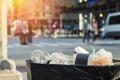 Trash waste bin on new york city street