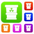 Trashcan containing radioactive waste set color collection Royalty Free Stock Photo