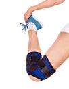 Trauma of knee in brace. Royalty Free Stock Photo