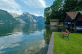 Traunsee summer lake austria wooden bench near traunkirchen Stock Photography