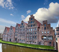 Trave river lubeck in germany Stock Images