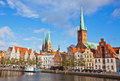 Trave river in lubeck old town germany skyline of reflected Royalty Free Stock Photos