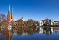 Trave river old town of lubeck germany Stock Image