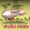 Travel abstract colorful background with blimp flying over the word written with capital letters Royalty Free Stock Images
