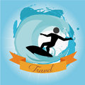 Travel activity over waves background vector illustration Stock Images